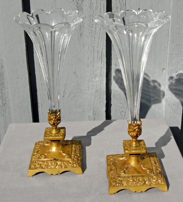 7693 Pr French Cut Crystal Trumpet Shape Mantel Vases C1890 For Sale