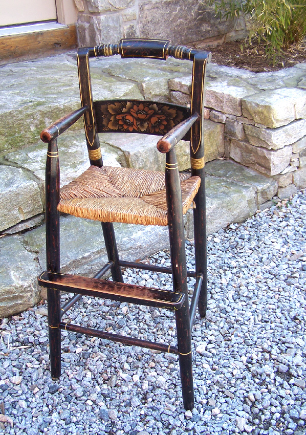 Country New England Hitchcock style child's maple rush seat high chair.  Original black paint with original stencil paint decoration, in muted  shades of ... - 8117 19th C Childs Painted High Chair For Sale Antiques.com