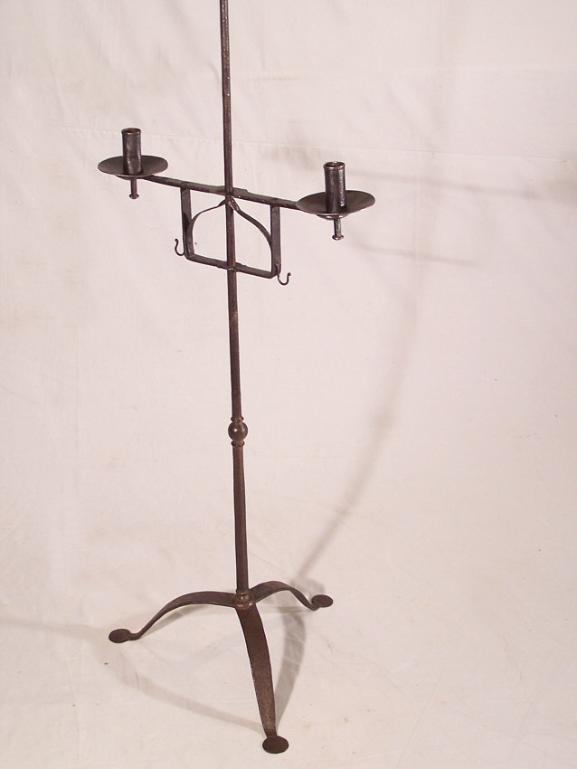 8394 Early 19thc New England Wrought Iron Torchiere Candle