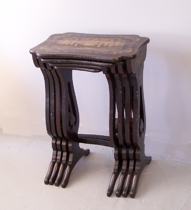 China trade black lacquered nesting tables for sale