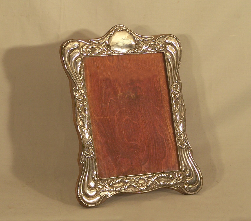 7900 Vintage Sterling Silver Photograph Frame On Stand C1900 For