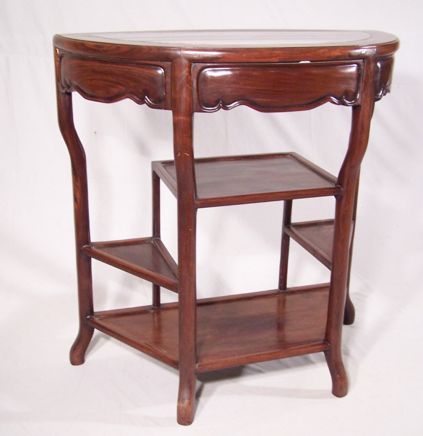 Lovely Chinese Antique Half Round Console Table With Angled Shelves. Made  Of Huanghuali, The Rarest Of Chinese Rosewoods. The Surface Is Inset With A  Thick ...