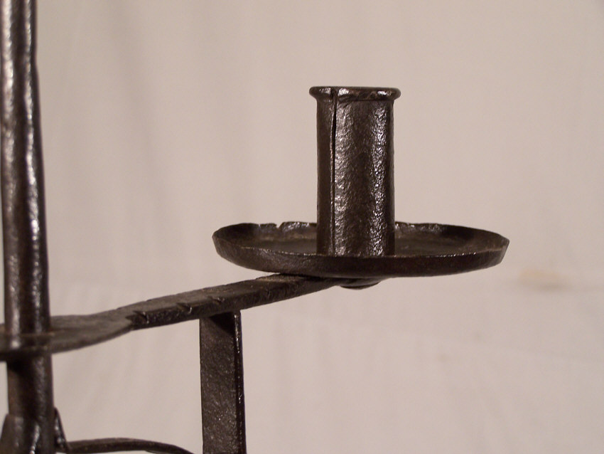 8396 Early 19thc New England Wrought Iron Torchiere Candle