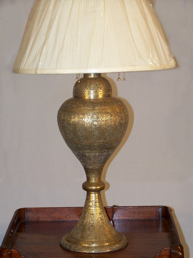 7852 India Brass Filigree Lamp Electrified C1850   For Sale