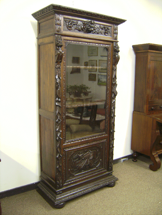 19th century carved oak bookcase with lions heads c1850 ...