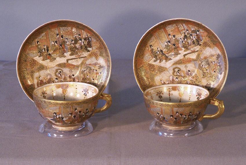 7827 Mejii Enameled Japanese Satsuma Porcelain Cups And Saucers For