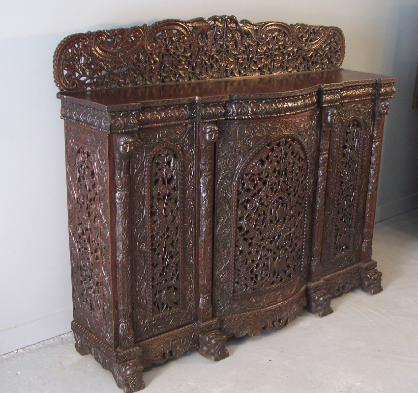 7901 Western India Bombay Pierced Carved Cabinet C1870