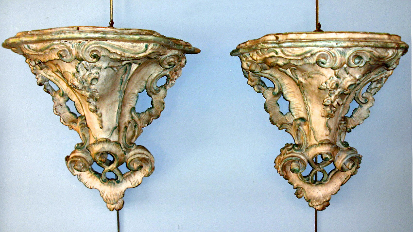 pr 18th century italian rococo period hand carved wall brackets for sale