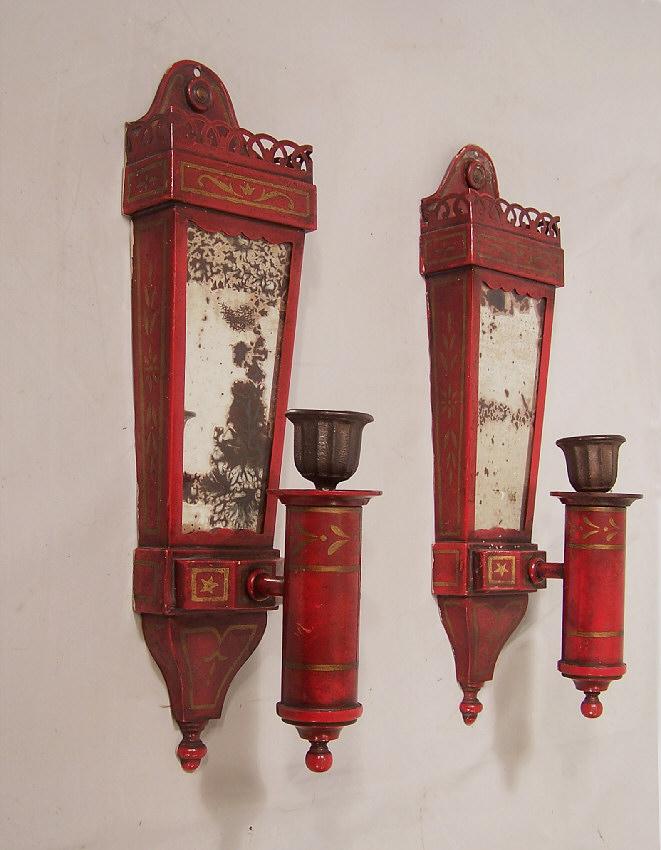 7871 Pair Red Tin Candle Wall Sconces By Caldwell C1910 For