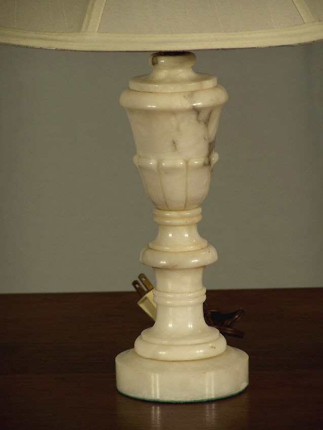 7786 Alabaster Table Lamp With Shade C1930 For Sale