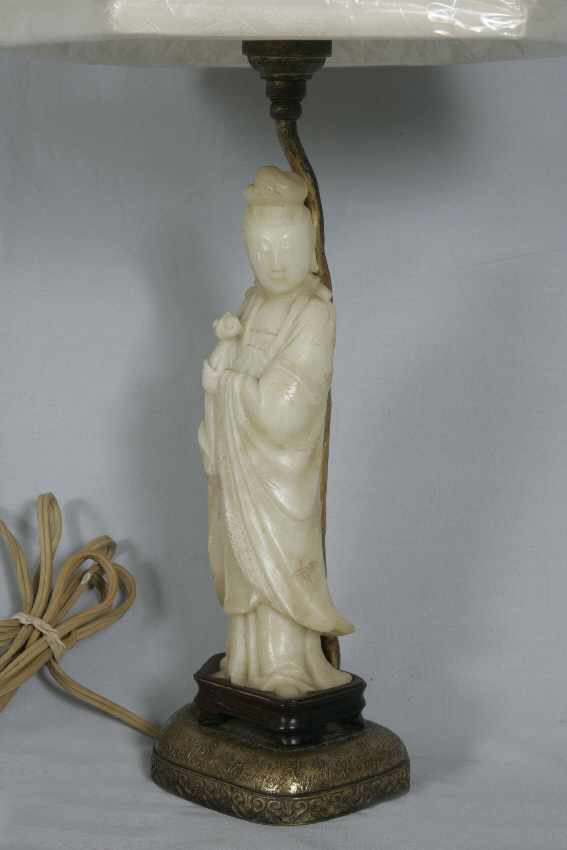8063 Chinese Marble Guanyin Lamp Bedside For Sale