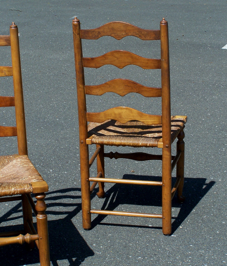 Set of 4 Stickley early American New England ladder back maple chairs with rush  seats c1956 in original condition. Shipping extra. - 7799 Set Of 4 Stickley Ladder Back Maple Chairs With Rush Seats