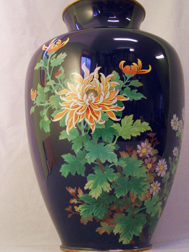 8358 Japanese Cloisonne Enamel Vase With Chrysanthemums For Sale