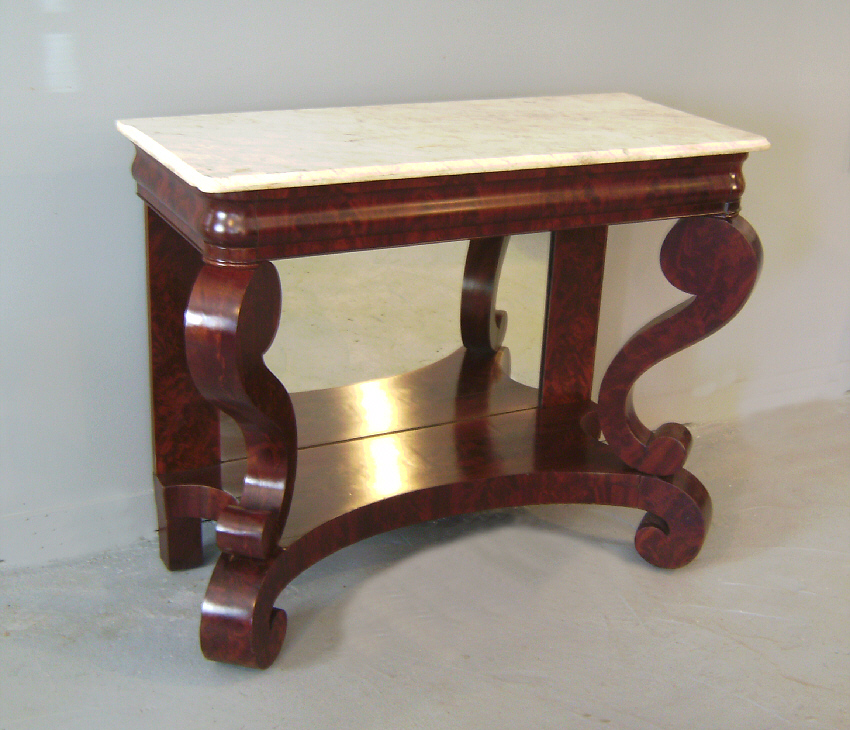 #7706 American Empire Marble Top Pier Or Console Table C1840   For Sale