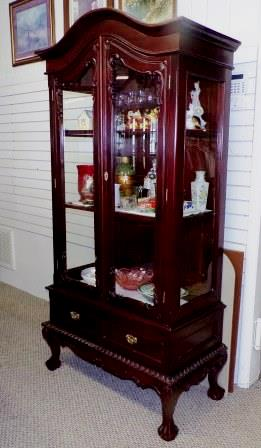 Cherry Cabinet Antique Chippendale. This Curio Cabinet Was Made Between  1890 1910. It Is 75 Inches Tall And 38 Inches Wide. It Has Elaborate Carved  Detail.