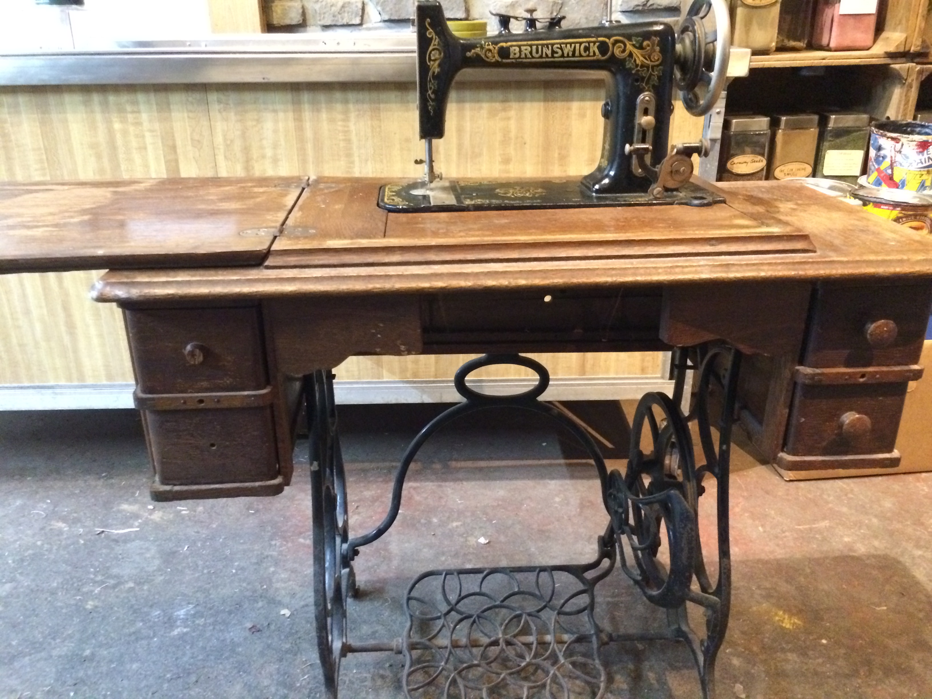Brunswick folding sewing table for sale antiques classifieds i have an antique brunswick sewing table for sale with pedal on the bottom the sewing machine folds up and folds down back into table form sciox Gallery