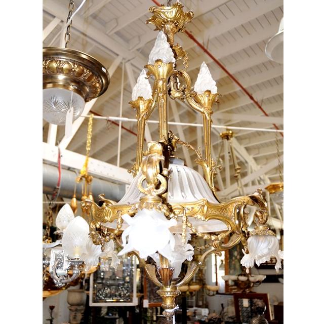Antique french bronze art nouveau chandelier for sale for Chandelier art nouveau