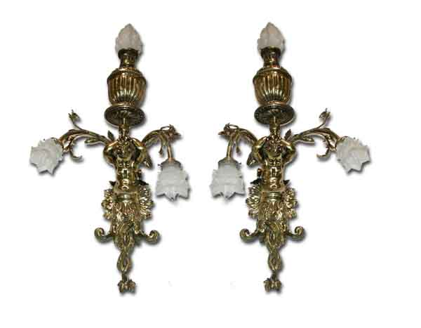 Pair of Beautiful Brass Wall Sconces w/Figural Cupids For Sale Antiques.com Classifieds