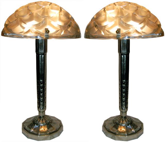 unique pair of signed r lalique art deco lamps for sale antiques. Black Bedroom Furniture Sets. Home Design Ideas