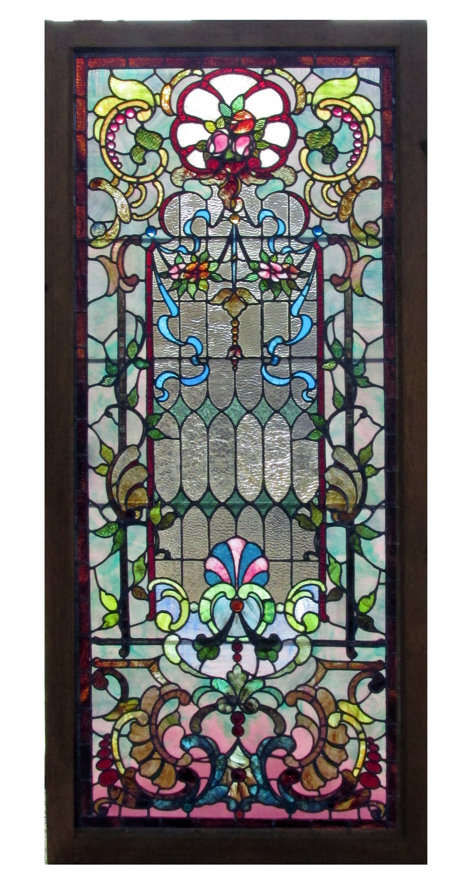 Antique Stained Glass Landing Window 13257 For Sale