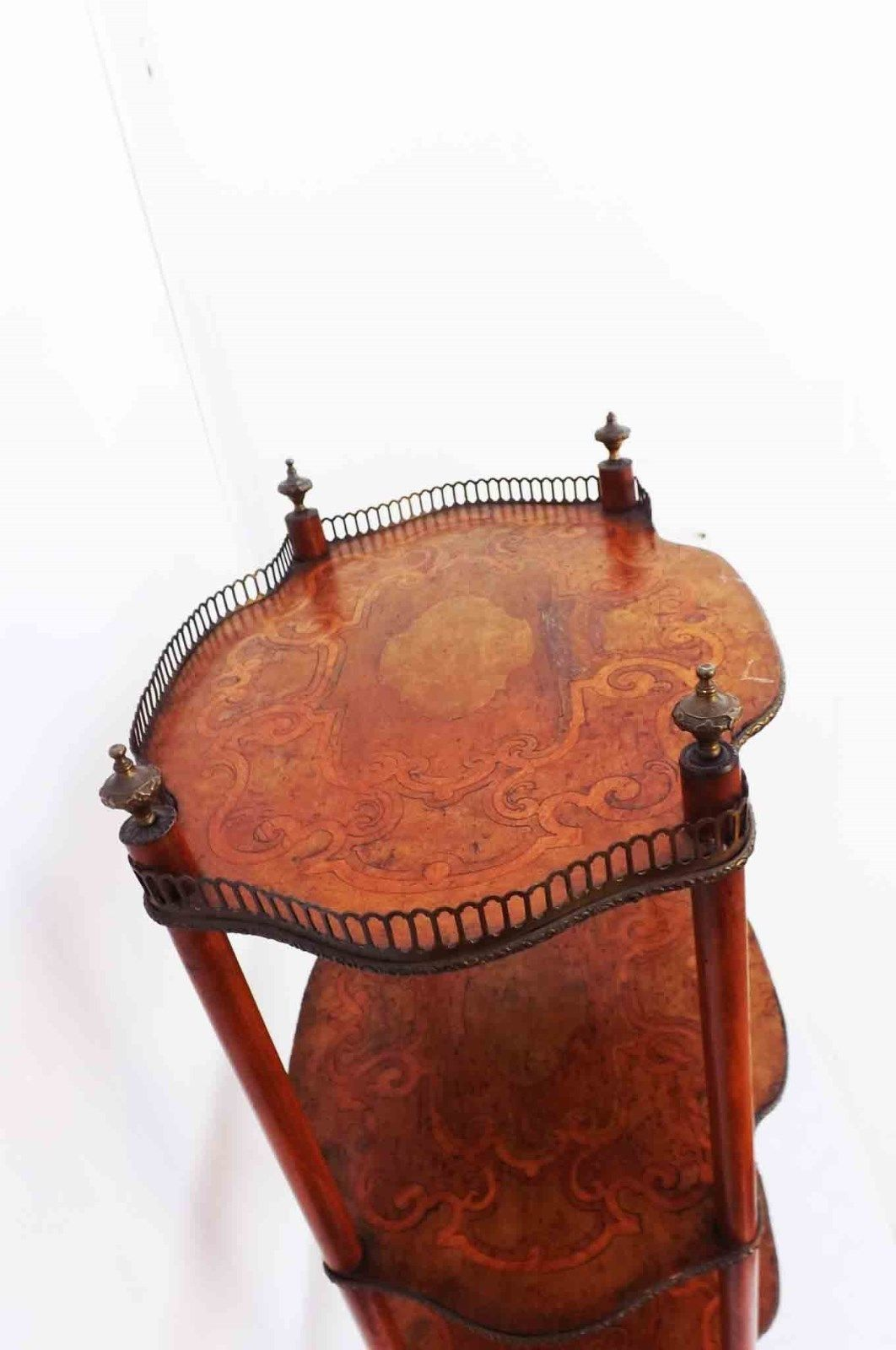 Lovely Small Three Tiers Table/whatnot Made In Quality European Satinwood  And Nicely Inlaid With Exotic Woods Veneers, Condition Is Quite Good And ...