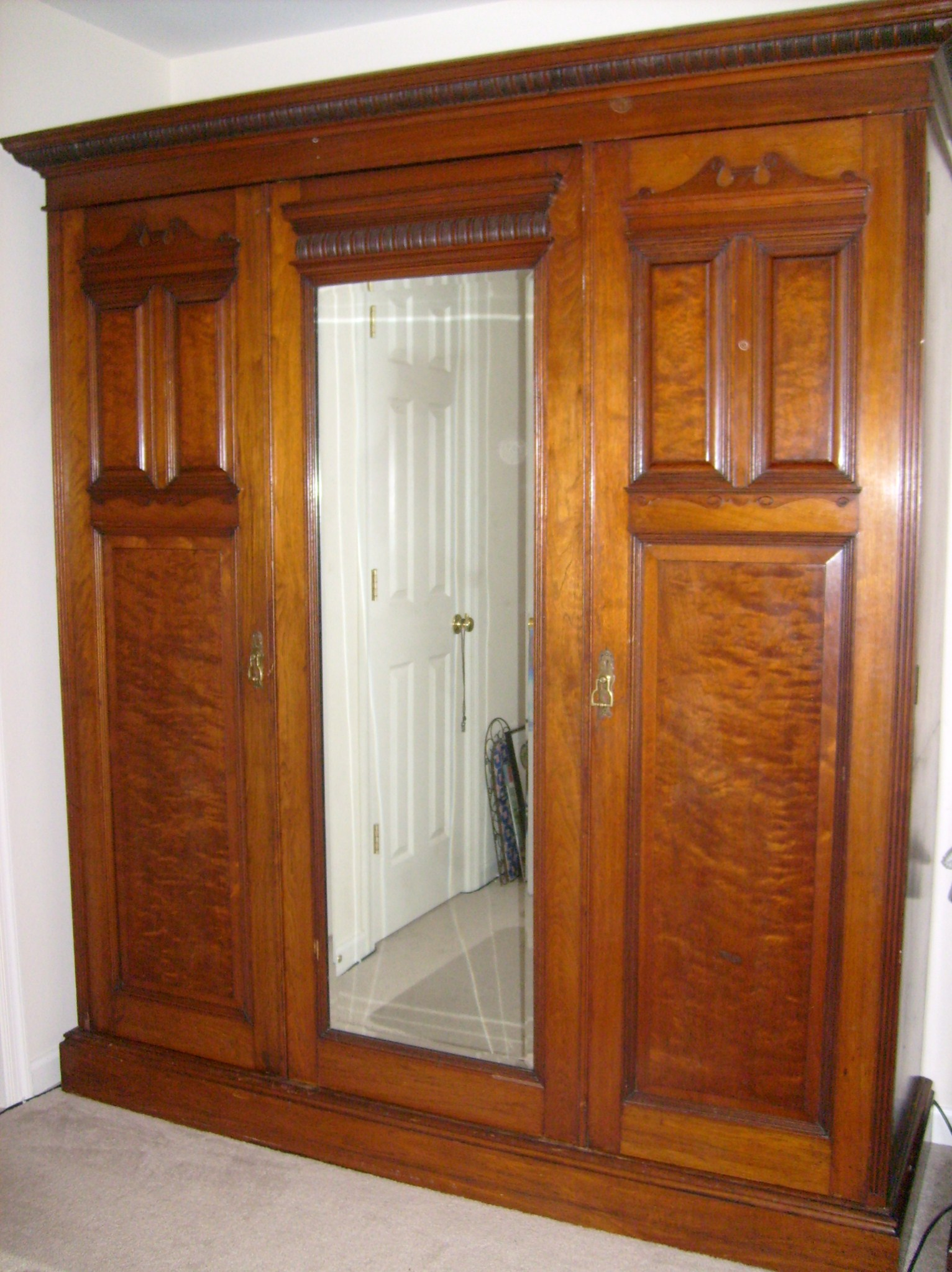 french three door mahagony armoire for sale. Black Bedroom Furniture Sets. Home Design Ideas
