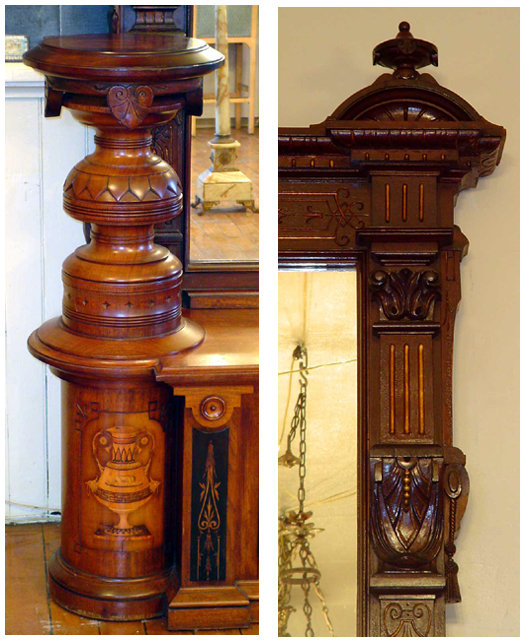 Magnificent Oversized Inlaid Pier Mirror With Side Pedestals For Sale Classifieds