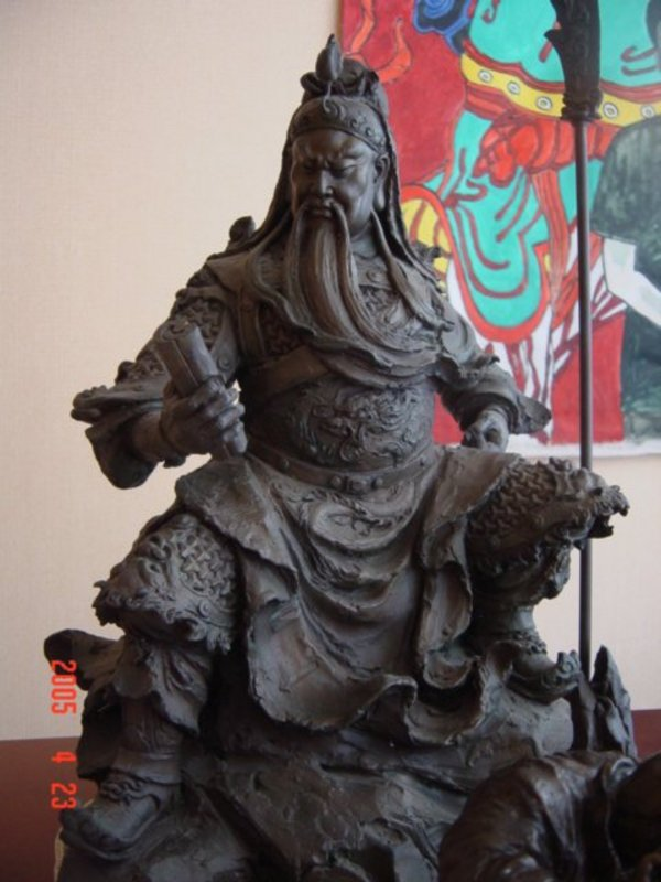 bronze kwan kung of wisdom by taiwan artist 1997  for sale