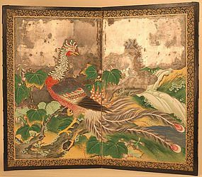 early 18th century japanese two panel screen painting featuring a spectacular phoenix exquisitely painted with silver leaf on paper