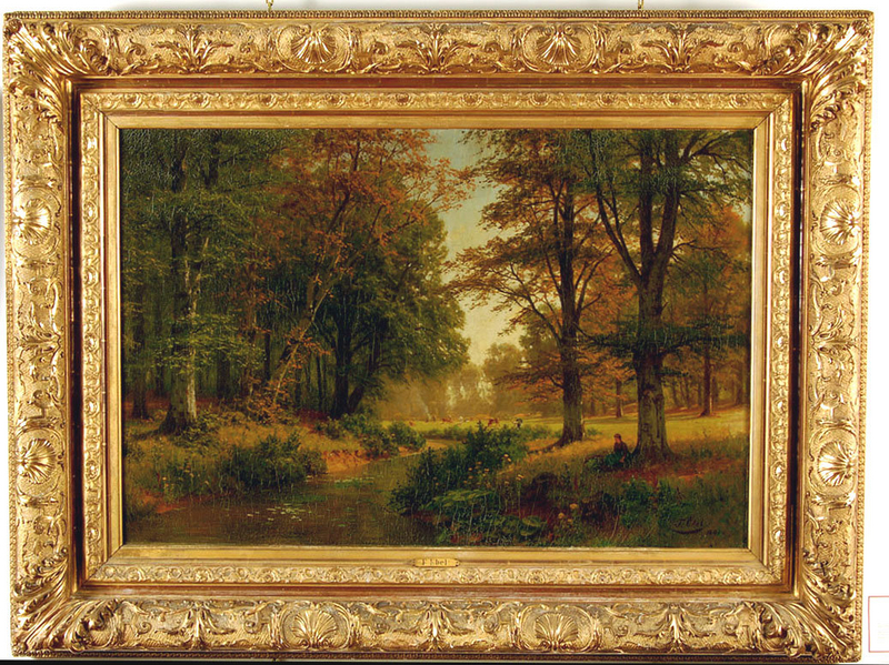 Fritz ebel painting large open landscape gilt frame for for Framing canvas paintings