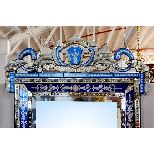 Spectacular Antique Blue French Venetian Wall Mirror For