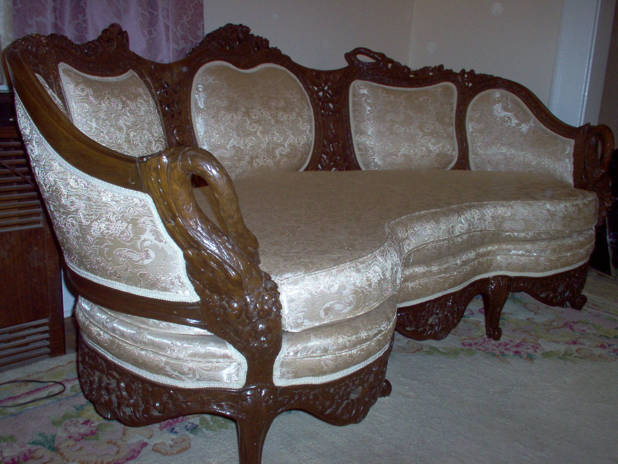 Classic, High Quality Parlor Set, Possibly Mahogany, Features Carved Swans  With White Brocade Fabric. Possibly Made By Herter Brothers Of Philadelphia.