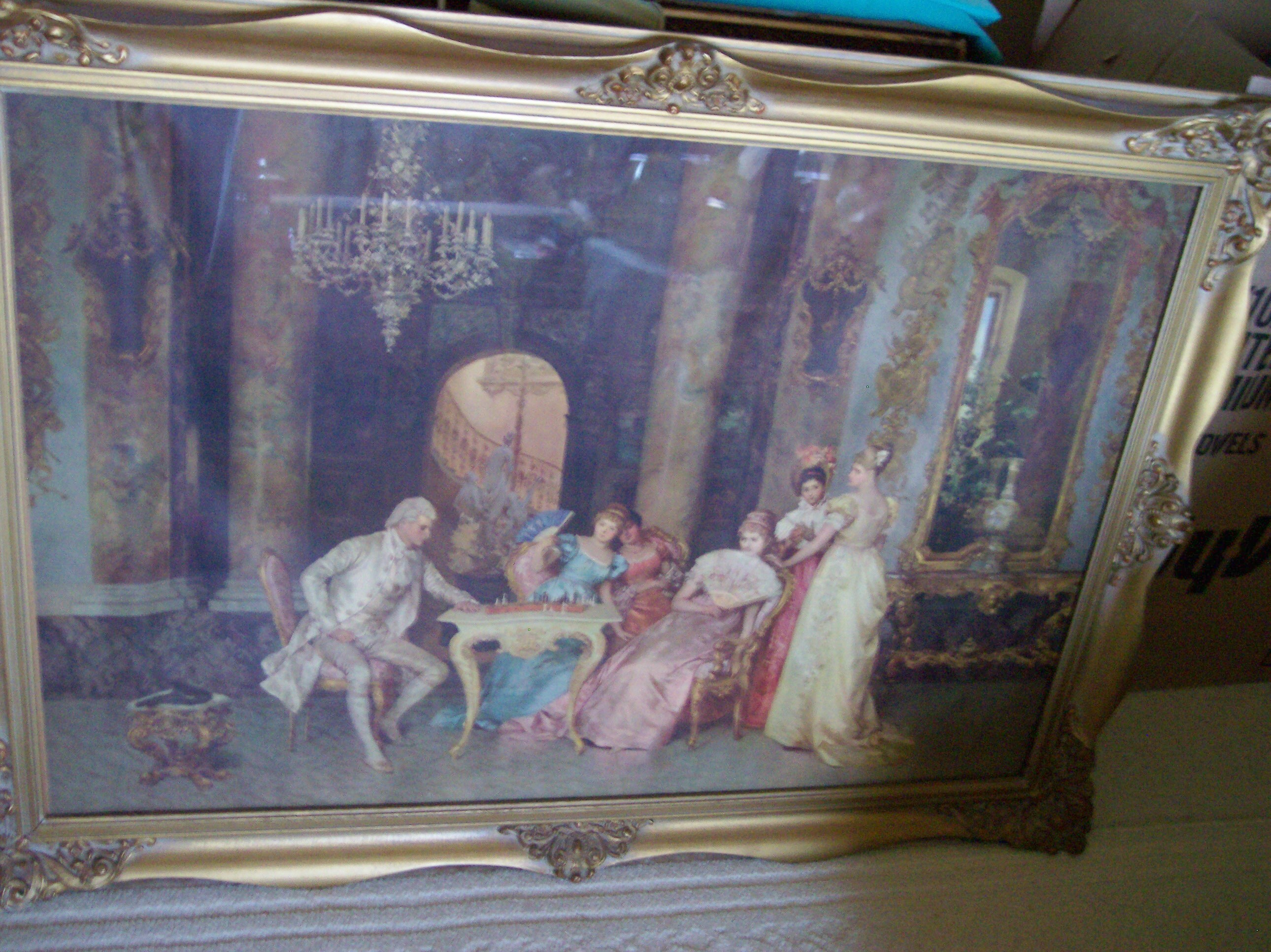 Antique Victorian Art Lithograph The Chess Game By Francesco Beda