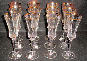 mikasa jamestown gold 12 crystal champagne flutes for sale - Crystal Champagne Flutes