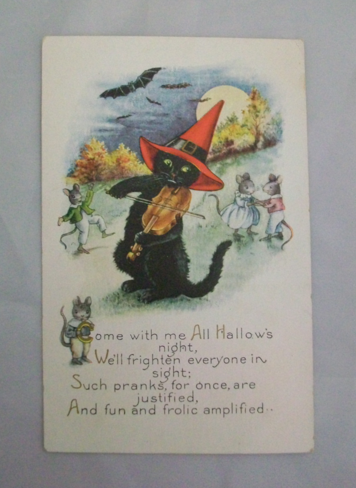 Halloween black cat playing fiddle postcard for sale for Antiques and collectibles for sale