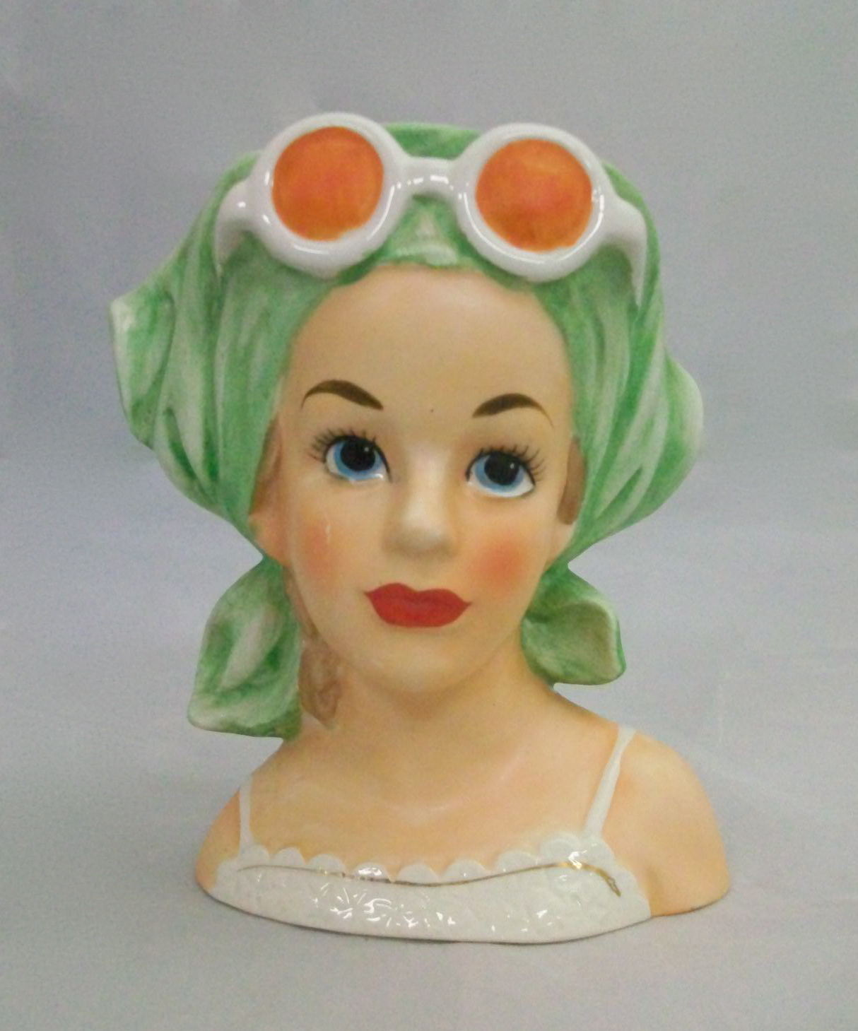 Relpo Sunglass Lady Head Vase K1863 For Sale Antiques