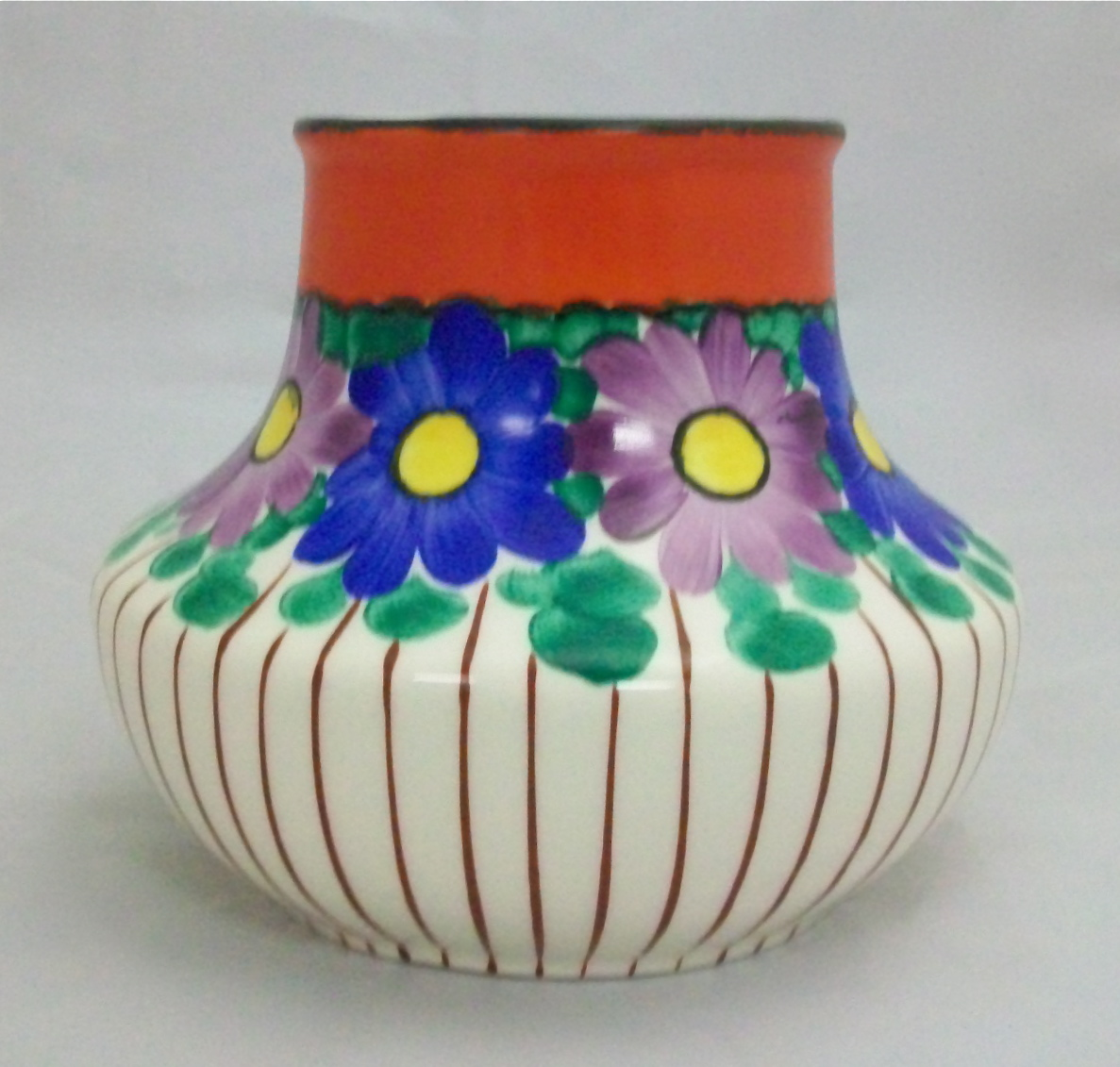 Czech pottery flower vase for sale antiques classifieds this czechoslovakian vase is crazed and features hand painted green leaves surrounding blue and purple flowers with yellow centers reviewsmspy