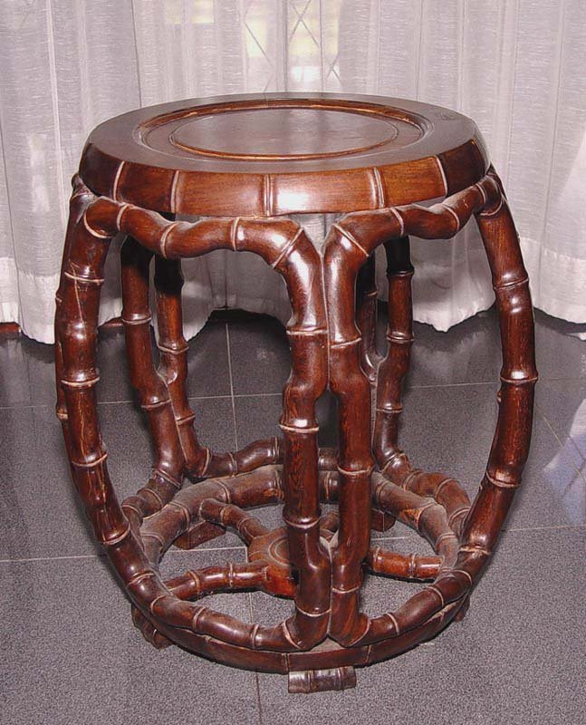 Chinese Drum Coffee Table: Chinese Jichimu Drum Table And 5 Stools