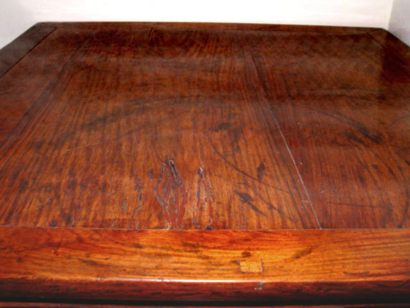 Rare Chinese Huanghuali Veneered Square Table 18th C For