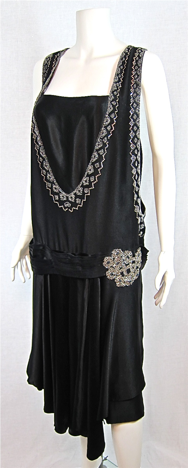 1920s SATIN RHINESTONE & BEADED FLAPPER DRESS - For Sale