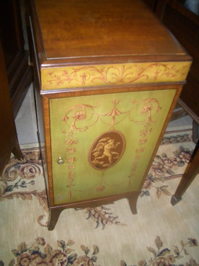 A very nice hand painted night stand made by Robert Irwin of USA circa  1910. This is a solid mahogany night stand, and has been hand painted with  a cherub ... - Night Stand For Sale Antiques.com Classifieds