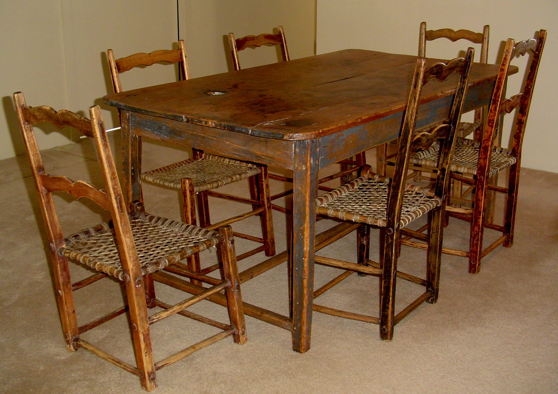 Primitive kitchen set canadian pine wood furniture for for Kitchen table chairs for sale