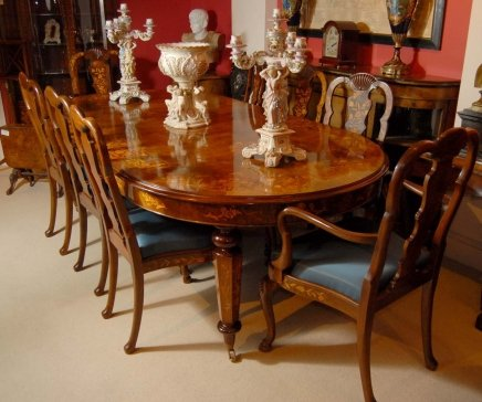 8 FOOT ITALIAN MARQUETRY DINING TABLE 8 QUEEN ANNE CHAIRS For Sale Antiques