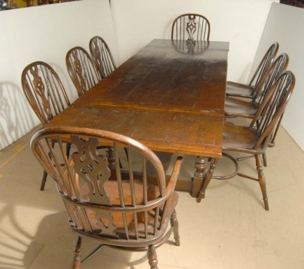 ENGLISH OAK WINDSOR CHAIR RUSTIC REFECTORY TABLE SET For Sale