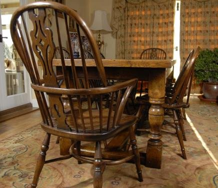 ENGLISH OAK REFECTORY TABLE 8 WINDSOR CHAIR DINING SET For Sale Antiq