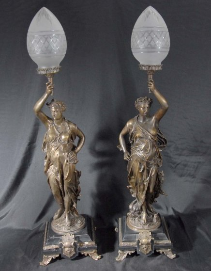 Pair Bronze Lights Signed Gregoire Statue Liberty