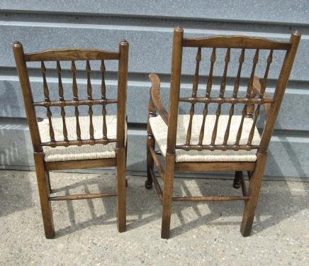 Description: You are viewing a set of eight English oak spindle back chairs  consisting of two arm chairs and six side chairs. They are the ultimate  dining ... - Set 8 English Oak Spindleback Chairs Farmhouse Spindle For Sale
