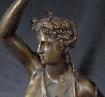 Pair Bronze Lights Signed Gregoire Statue Liberty