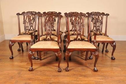 Description: You are viewing an amazing set of 10 English Chippendale  dining chairs hand crafted from the finest mahogany and with a delightful  Gothic twist ... - 10 ENGLISH GOTHIC CHIPPENDALE DINING CHAIRS For Sale Antiques.com