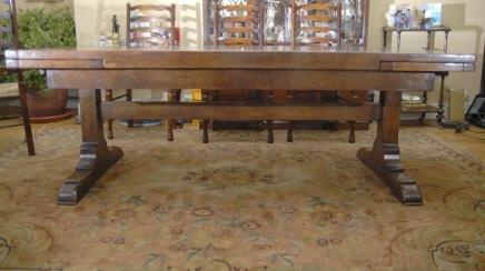 10 Ft English Oak Farmhouse Table Farmhouse Extender For Sale